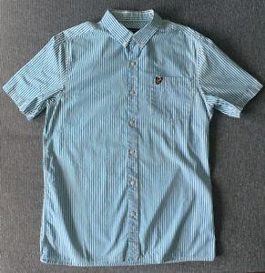 Lyle & Scott - Blue Candy Striped SS Shirt - Size M
