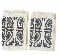 "Pair Of Threshold Curtain Panels Gray Embroidered Boho Light Blocking 84"" Set 2"