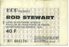 RARE / TICKET BILLET PLACE CONCERT - ROD STEWART : LIVE A PARIS ( FRANCE ) 1978