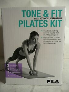 NEW FILA PILATES TONE & FIT EXERCISE KIT CORE SCULPTING BALL RESISTANCE BANDS
