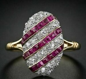 925 Silver 2.70 CT Princess Cut Red Ruby Diamond Gold Plated Wedding Unique Ring