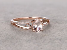 1.00CT Oval Cut Peach Morganite Engagement Ring 14K Rose Gold Finish
