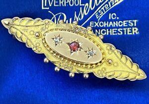 ANTIQUE 9ct GOLD DIAMOND & RUBY LOVE QUOTE LOCKET BROOCH PIN HALLMARKED 1905