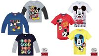 Boys Kids Children Disney Mickey Short Long Sleeve Tee TShirt Top age 3-8 years