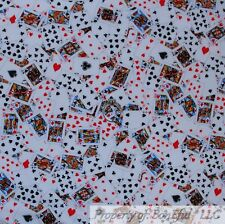 BonEful FABRIC Cotton Quilt White Black Red B&W Playing Cards Heart Casino SCRAP