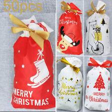 50Pcs Christmas Foil Gift Bags Pouches XMAS Wedding Party Candy Favour Bag