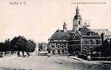 Laucha a. U., Bahnhof mit Post und Kirche, um 1910