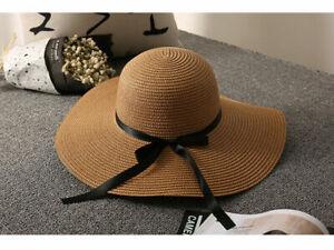 Womens Floppy Hats Ladies Wide Large Brim  Summer Sun Beach Natural Straw Cap