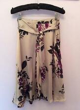 HOBBS OYSTER BEIGE & PURPLE FLORAL PRINT SILK BELTED SKIRT SIZE 12