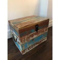 Storage Trunk Blanket Chest Treasure Reclaimed Wood Furniture Vintage Wooden Box