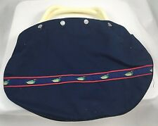 Vintage Dotty Smith Lakeville Conn Handbag Navy with Mallard Ducks