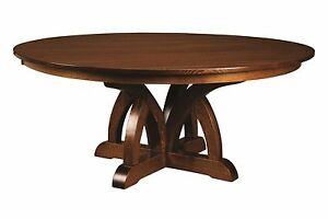 Amish Round Pedestal Dining Table Brooklyn Solid Wood Traditional Transitional