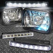 7x6 H6014 SQUARE PROJECTOR BLACK CRYSTAL HOUSING HEADLIGHT+H4 BULB+LED FOG LIGHT