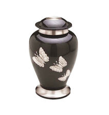 Large Silver Butterfly Black Urn for Adult or Pet Dog Ashes Cremains Memorial