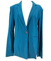 Halogen Nordstrom Women's Blue Linen Blend Long Sleeve One Button Blazer Small