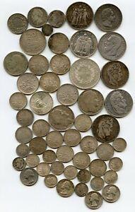 lot, 52 Monnaies Argent. Louis XVIII. Napoléon. Sardaigne, ect.... 504 Grammes