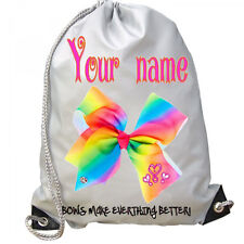 Personalised White Girls JoJo BOWS Sport Gym School PE Swim Ballet Dance Bag!