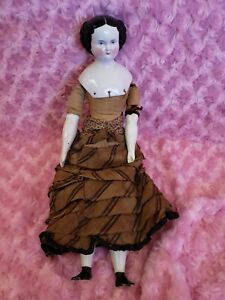 Antique Flat Top China Head Doll with Flat Feet