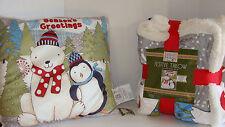 "Debbie Mumm Christmas Throw 50"" x 60"" Sherpa Backing & Throw Pillow 16"" x 16"""