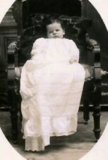 RPPC BABY w BEAUTIFUL LONG PIN-TUCKED CHRISTENING GOWN ANTIQUE PHOTO POSTCARD