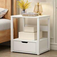 Storage Wood Side Bedside Table End Nightstand 2-Tier Cabinet Bedroom W/ Drawer