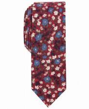 Original Penguin Mens Red Andras Skinny Floral Slim Neck Tie Cotton $55 264