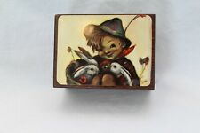 Reuge Swiss Wood Music Box w/ Hummel Picture Plays Edelweiss Works