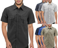Men's Pearl Snap Button Down  Western  Short Sleeve Casual Cowboy Dress Shirt