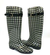 Ralph Lauren Rossalyn II Houndstooth Rubber Rain Boots Women Black/White Sz 7 B