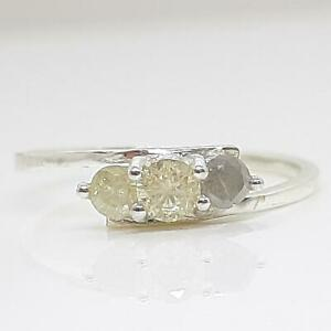 Past, Present, Future 14K White gold plate/925 .38ctw Diamond Engagement Ring