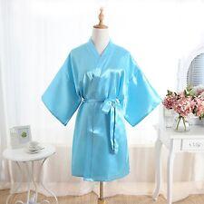 Women Plain Satin Robe Dressing Gown Bridal Wedding Bride Kimono robeBride Gown