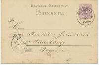 "DT.REICH ""DRESDEN-A. / 10."" K1  a. 5 Pfennig violett Pra.-GA-Postkarte 1889"