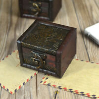 FP- Wooden Jewelry Box with Lock Storage Rings Trinket Case Organizer Gift Vinta