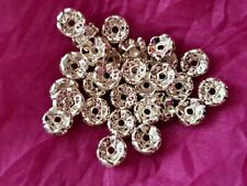 30pcs 8mm rhinestones rondelle crystal spacer beads silver Grade A findings