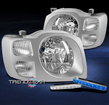 FOR 2002 2003 2004 XTERRA CHROME CRYSTAL STYLE HEADLIGHT LAMP W/BLUE LED DRL KIT