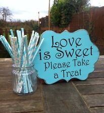 Love Is Sweet Wedding Sign Tiffany Blue Vintage