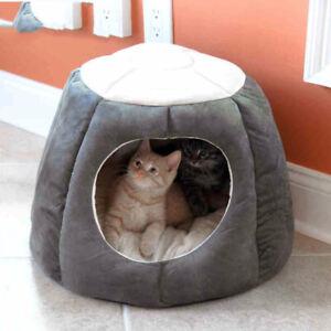 Pet Cat Nest Bed Kitten Cave House Sleeping Puppy Warm Igloo Mat Soft Cushion UK