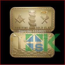 Lot of 2 Freemason Gold Plated 1oz Masonic  Bullion Bar #001, #002