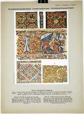 GOBELIN DRAPERY ORNAMENT 1914 Historical Ornament Print Middle Ages Print