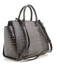 Michael Kors Selma Large Handbag in GREY Croco Satchel Purse  #30F3MLMS7YNWT