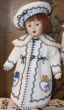 """Bleuette White Wool Felt Beret & Coat Clothing KIT LSDS for 11"""" Doll"""