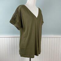 SIZE Large L Ralph Lauren Olive Green Lace Trim Shirt Top Blouse Women's New NWT