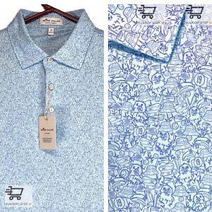 PETER MILLAR Summer Comfort Golf Polo CADDYSHACK Murray ⛳️ XL XLARGE BLUE Swag