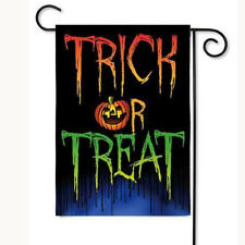 Trick or Treat Double Sided Suede & Glitter Halloween Garden Flag 12.5X18 Inch