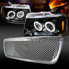 2004-2008 Ford F150 Black LED Halo Projector Headlights+Chrome Hood Mesh Grille