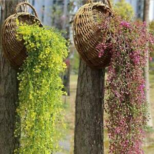 Artificial Fake Hanging Flowers Vine In Basket Plants Tree Wall Decor Outdoor US
