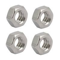"4pcs 1/4""-20 BSW Thread 304 Stainless Steel Hex Nut Fastener Silver Tone"