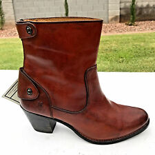 Frye Jackie Short Zip Ankle Boots Womens 8.5 Redwood Leather NEW $368 Gorgeous!