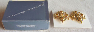 "1991 Avon ""ADRIATIC"" Jose Maria Barrera Goldtone Clip Earrings - Brand NEW!"