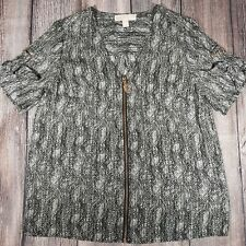 Michael Kors Green Snakeskin Print Medium Tunic Blouse Top Zipper